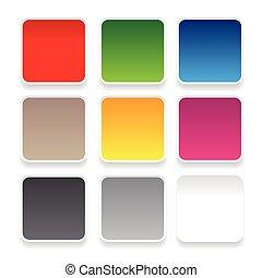 Empty square sticker button set