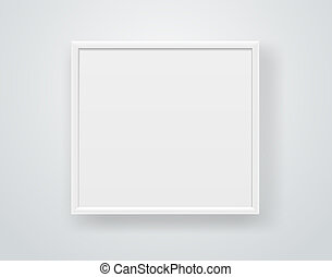 Empty square white frame on a wall. Vector template