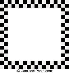 Checkered frame, border. Empty squarish picture, photo frame with squares for racing photos or generic use