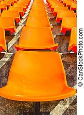 Empty stadium seat.