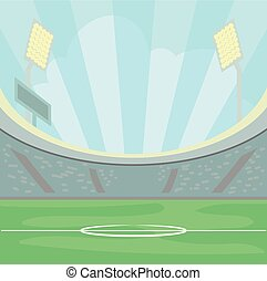 Empty stadium with a green grass in the day time under a blue sky, illuminated sport field background vector Illustration