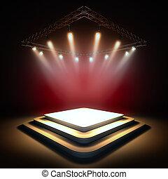 Empty stage illuminated by spotlights.