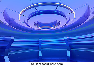 Empty stage in futuristic blue interior. 3d rendering