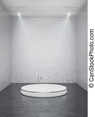 Empty stage in interior 3d render