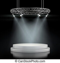 Empty stage in spot lights isolated on a black background. ...