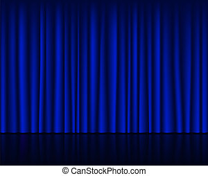 Empty stage with dark blue curtain seamless template