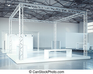 Empty stage with metal framework in modern exhibition interior. 3d rendering