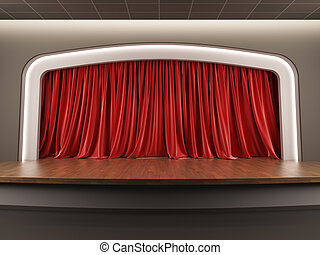 Empty stage with red velvet curtain.