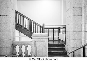 Empty staircase in black and white