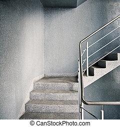 Empty modern building stairway
