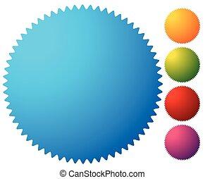 Empty starburst, sunburst button, icon background in 5...