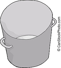 Empty Steel Bucket - One empty steel bucket on isolated...