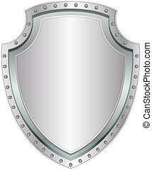 Empty steel shield. Metal badge