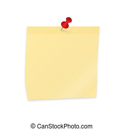 Empty sticker and pushpin isolated on white. Yellow sticky note paper clipping with red push pin. Reminder vector illustration.