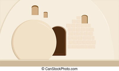 Empty Stone Tomb, Garden Tomb in Jerusalem, Israel, Resurrection of Jesus Christ, Holiday of Easter, quotation from the Bible - He is not here, for he is risen.