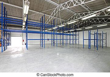 Empty storage room - Empty shelves in storage room warehouse