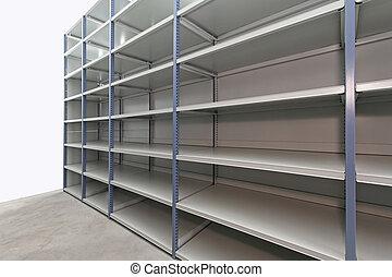 Empty storage room - Long empty metal shelf in storage room