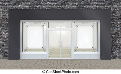 Empty Store Front with Big Windows whith border