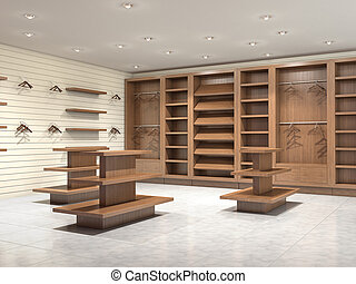 Empty store with commercial equipment, 3d illustration
