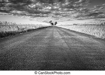 Empty straight long asphalt road. Black and white