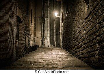 Empty street at night in Barri Gotic quarter in Barcelona, ...