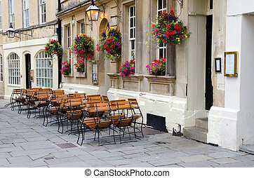 Empty street cafe, Bath, UK