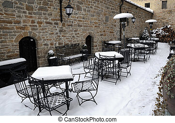 Empty Street Cafe in the Winter
