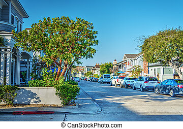 Empty street in Balboa Island