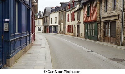 empty street of small breton town