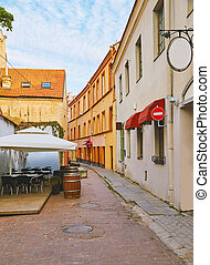 Empty street with cafe in Vilnius