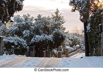 empty streets in a snowy village