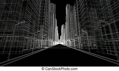 Empty Streets in Abstract Modern City Moving Through Seamless Digital 3d Blueprint on Black. Construction and Technology Concept. Looped 3d Animation. 4k Ultra HD 3840x2160.