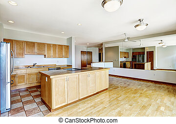 Empty Studio Apartments. Empty studio  Apartment residential building in downtown Seatte Kitchen room empty apartment