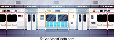 Empty Subway Car Interior Modern City Public Transport, Underground Tram