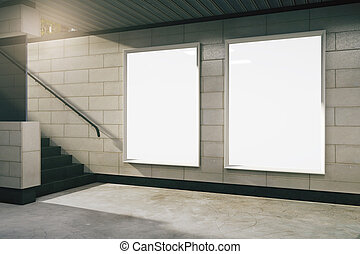 Empty subway hall with blank banners, mock up