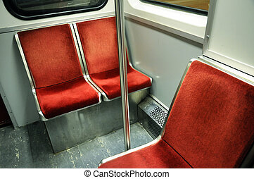 Empty subway seats