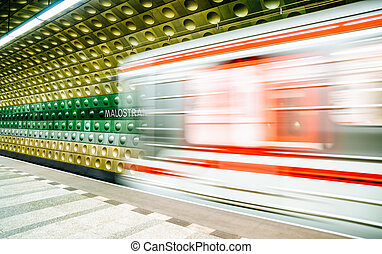 Empty subway station in Prague, Czech republic