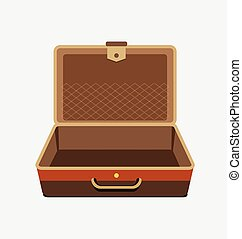 Empty suitcase for summer holiday - vector isolated illustration