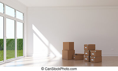 Empty sunny room with cardboxes