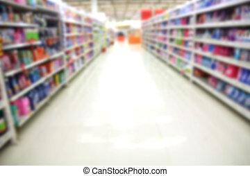 Empty supermarket aisle, Motion Blur.