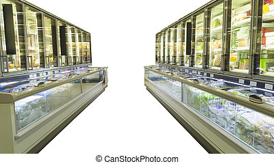empty supermarket aisle with shelves full of products isolated on white background