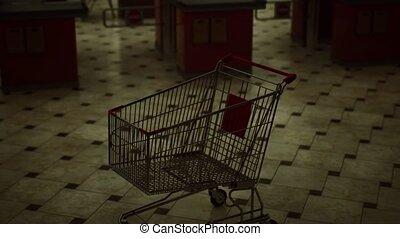 empty supermarket due to covid-19 lockdown