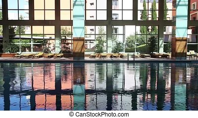 Empty swimming pool - Empty magnificent swimming pool indoor...