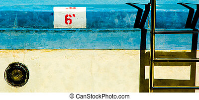 Empty swimming pool with ladder