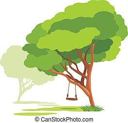 Empty swings on a spring tree