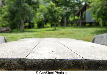 table in garden