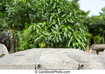 table in garden - empty table in garden