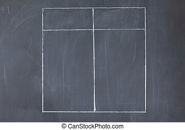 Empty table on a blackboard