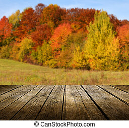 Empty table - Empty wooden deck table with autumn...