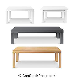 Empty Table Set . Wooden, Plastic, White, Black. Isolated ...